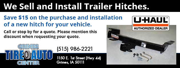 Save $15 on the purchase and installation of a new hitch for your vehicle.