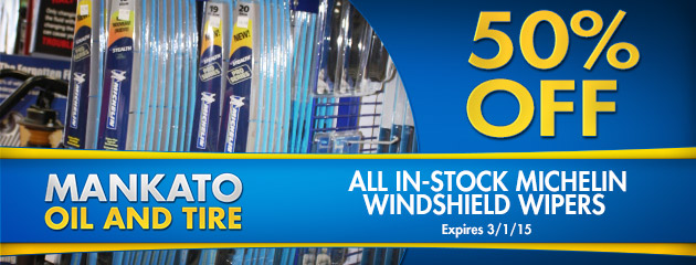 50% off all in-stock Michelin Windshield Wipers