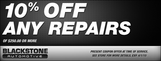 10% OFF ANY REPAIRS $250 OR MORE