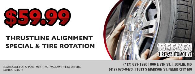$59.99  Thrustline Alignment Special & Tire Rotation