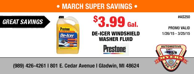 $3.99 Prestone De-Icer Windshield Washer Fluid