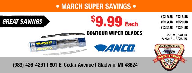 $9.99 Anco Contour Wiper Blades