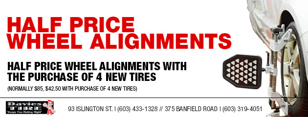 Half Price Wheel Alignments with the purchase of 4 new tires