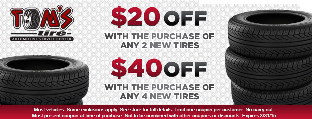 Save Up to $40 on your next tire purchase