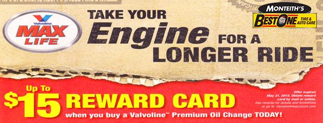 Valvoline $15 Reward card