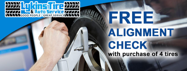 free alignment check with purchase of 4 tires