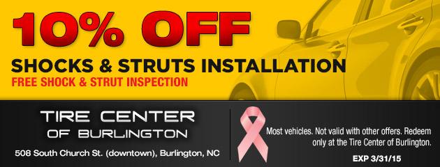 10% Off Shocks and Struts Installation