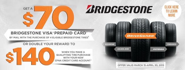Bridgestone $70 and $140 rewards