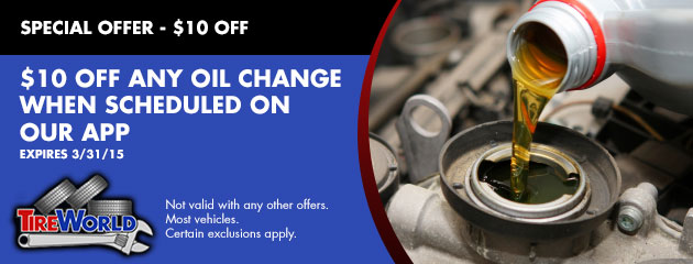 $10 off any Oil Change when scheduled on our app