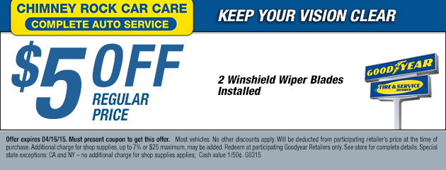 $5 off two windshield wiper blades installed