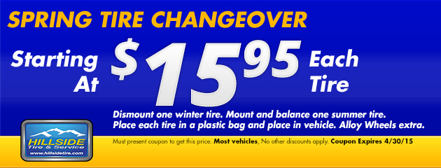 $15.95 Spring Tire Changeover