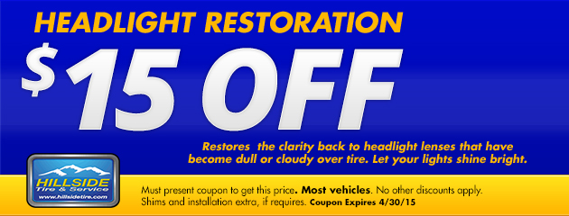 $15 Off Headlight Restoration