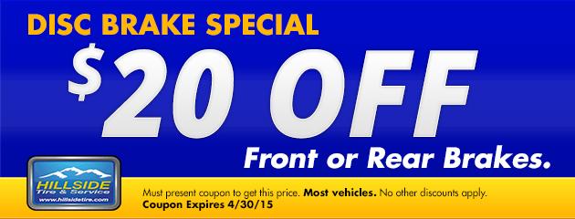 $20 Off Disc Brake Special