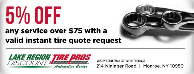 5% off any service over $75 with a valid instant tire quote request
