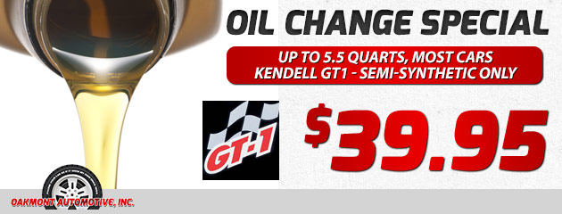 Oil Change special - Kendell GT1 - $39.95