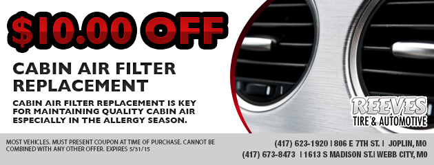 $10.00 off Cabin Air Filter Replacement
