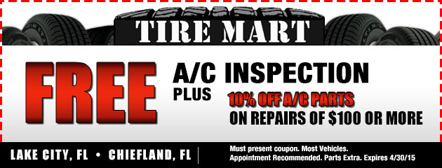 Free A/C Inspection, Plus 10% off A/C parts on repairs of $100 or more.