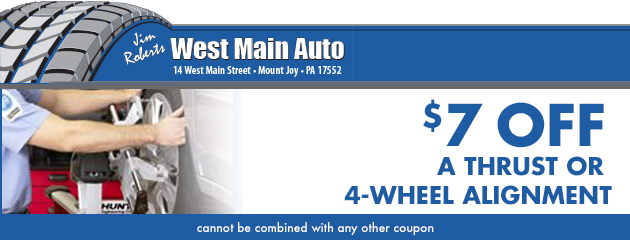 $7 off a Thrust or 4-wheel alignment