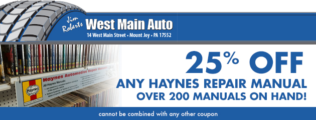 25% off any Haynes Repair Manual