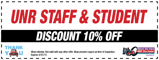 UNR STAFF & STUDENT DISCOUNT 10% OFF