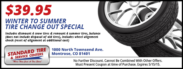 $39.95 Winter To Summer Tire Changeout