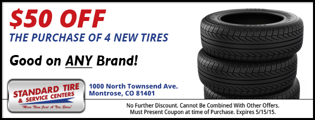 $50.00 Off 4 New Tires