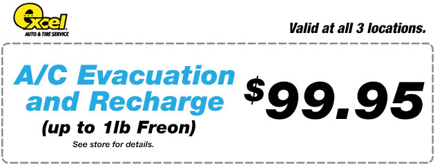 A/C Evacuation and Recharge $99.95