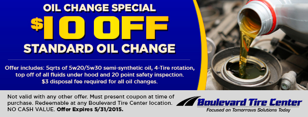 OIL CHANGE SPECIAL - $10.00 OFF STANDARD OIL CHANGE