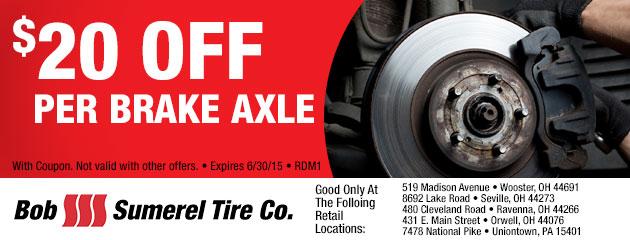 $20 Off Per Brake Axle