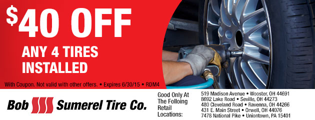 $40 OFF ANY 4 TIRES INSTALLED