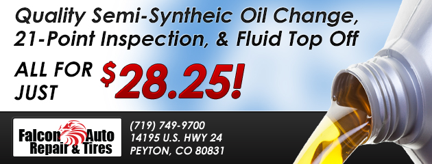 Semi-Syntheic Oil Change, 21-Point Inspection, & Fluid Top Off -$28.25!