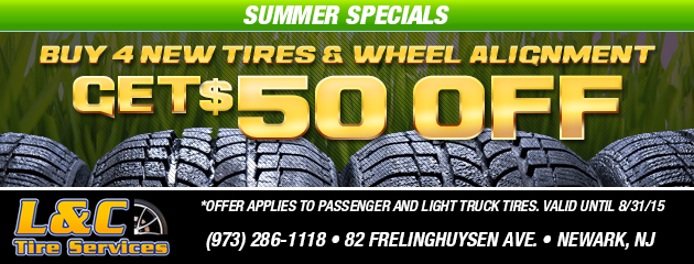 Summer Specials! Buy 4 Tires and Wheel Alignment Get $50 Off