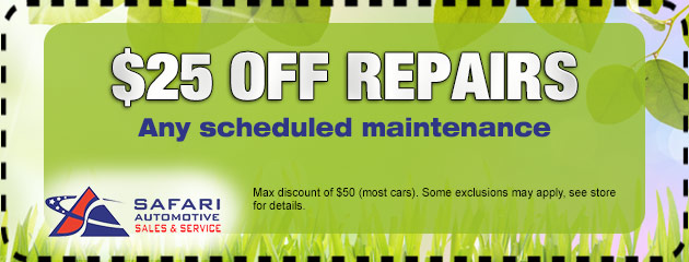 25% off any scheduled maintenance.