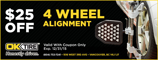 4 Wheel Alignment $25.00 Off