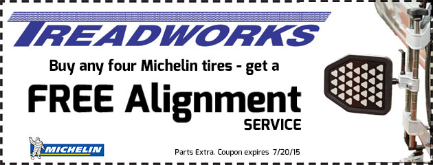 Buy any four Michelin tires - get a free Alignment Service