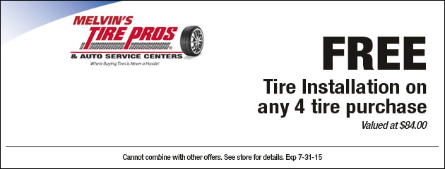 FREE Tire Installation on any 4 tire purchase