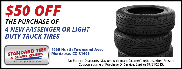 $50.00 OFF PURCHASE OF ANY SET OF 4 NEW TIRES
