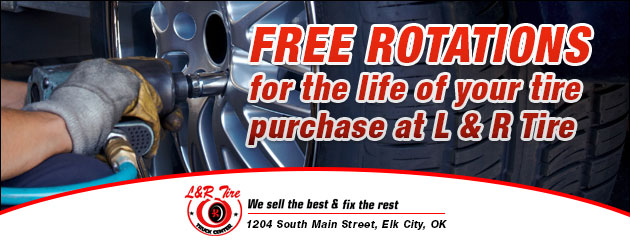 Free Rotations for the life of your tires purchase at L & R Tire
