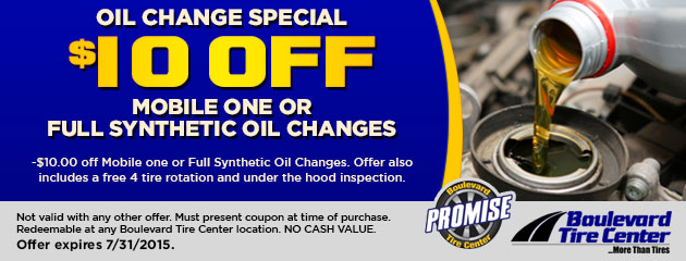 $10 OFF MOBILE ONE OR FULL SYNTHETIC OIL CHANGES