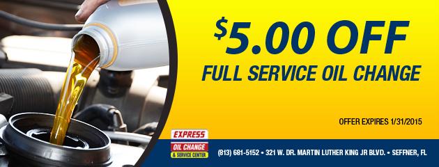 $5.00 Off Full Service Oil Change