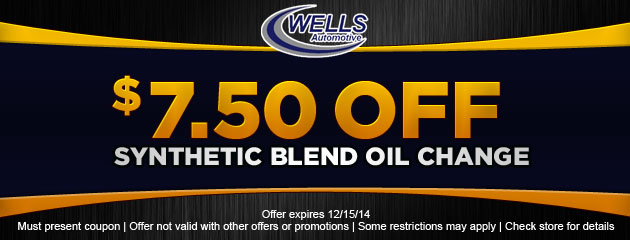$7.50 Off Synthetic Blend Oil Change