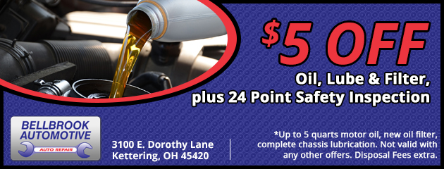 $5 Off Oil, Lube, & Filter plus 24 Point Saftey Inspection