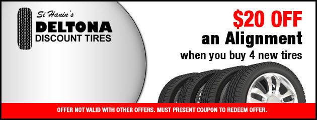 $20 Off Alignment with 4 New Tires
