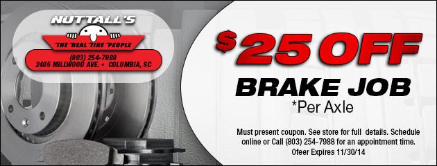 $25 Off Brake Job