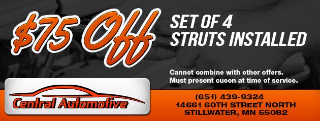 $75 Off Struts Installed
