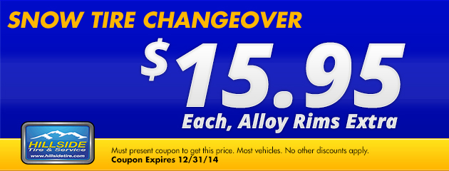 Snow Tire Changeover $15.95 each