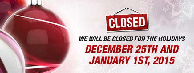 Closed Christmas & New Years - JB