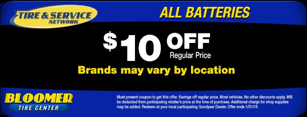 $10 Off Batteries