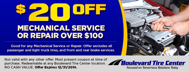 $20 Off Mechanical Service or Repair Over $100