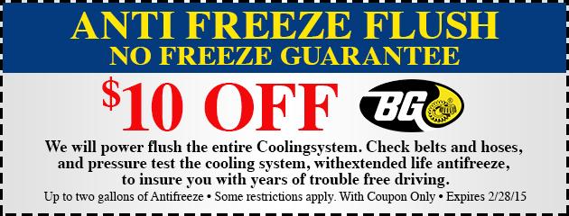 $10 Off Anti Freeze Flush